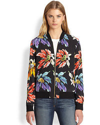 Equipment Abbot Silk Floral Print Bomber Jacket