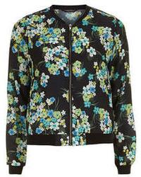 Dorothy Perkins Black And Green Floral Bomber Jacket