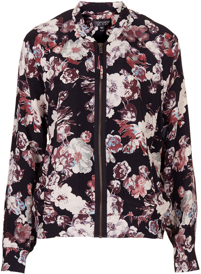 Topshop Blurred Flower Bomber Jacket | Where to buy & how to wear