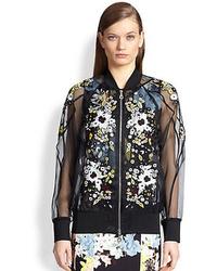 Erdem Embroidered Silk Organza Bomber Jacket