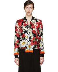 Dolce & Gabbana Red Black Silk Floral Bomber Jacket
