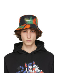 Kenzo Black And Orange Flowers Logo Bucket Hat