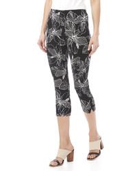 Black Floral Capri Pants