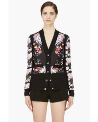Givenchy Black Pink Silk Cashmere Blend Floral Print Cardigan