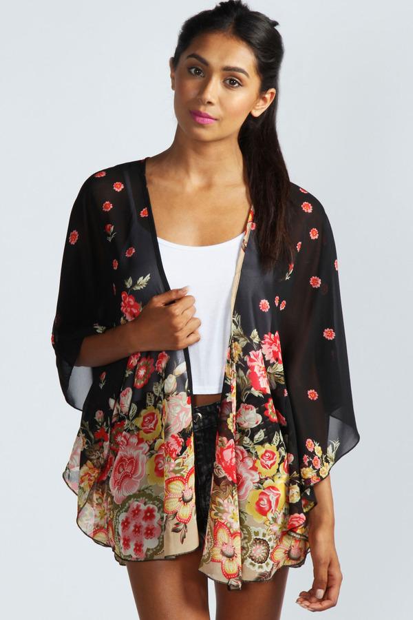 b1f08b84343f3 ... Black Floral Cardigans Boohoo Mina Floral Print Kimono ...