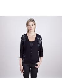 Colour works black sequined flower embellished cardigan medium 26287