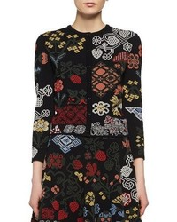 Floral needlepoint cardigan black medium 4353335