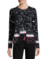 Relief floral print knit cardigan fantasy medium 915385