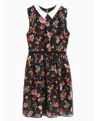 Choies vintage black skate dress in floral medium 46134