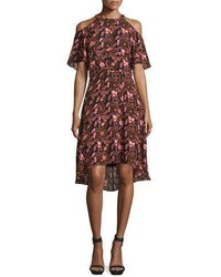Emile floral silk cold shoulder dress blackhennapink medium 704078