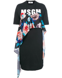 MSGM Floral Detail Logo T Shirt Dress