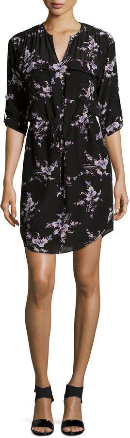 6472c70a1393 ... Rebecca Taylor Long Sleeve Floral Print Silk Shirtdress Black ...