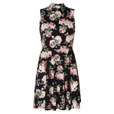Exclusives New Look Black Floral Print High Neck Skater Dress ...