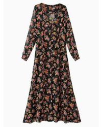 Black floral single breasted v neck chiffon maxi dress medium 80133