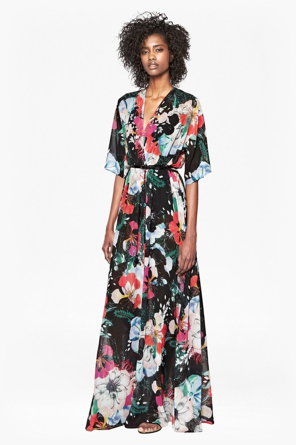 Black Floral Chiffon Maxi Dress French Connection Floral