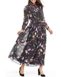 Black Floral Chiffon Maxi Dresses for Women   Women s Fashion ee90b8f2c7