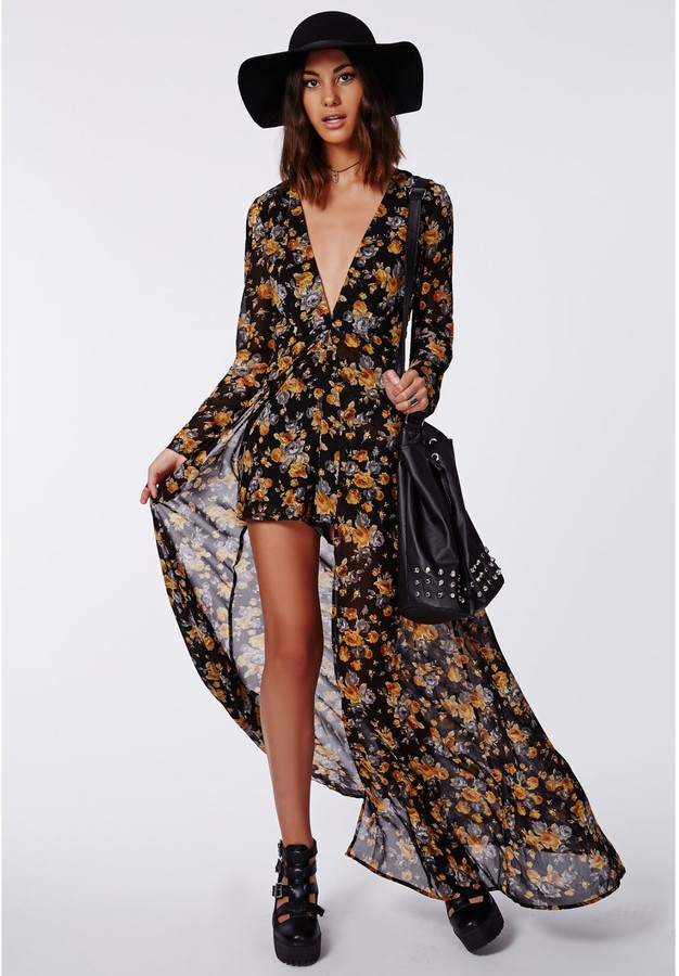 Missguided Roxy Floral Chiffon Plunge Maxi Overlay Romper Black ...