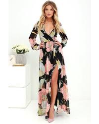 Wondrous water lilies magenta long sleeve maxi dress medium 3674602