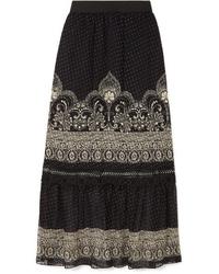 Black Floral Chiffon Maxi Skirt