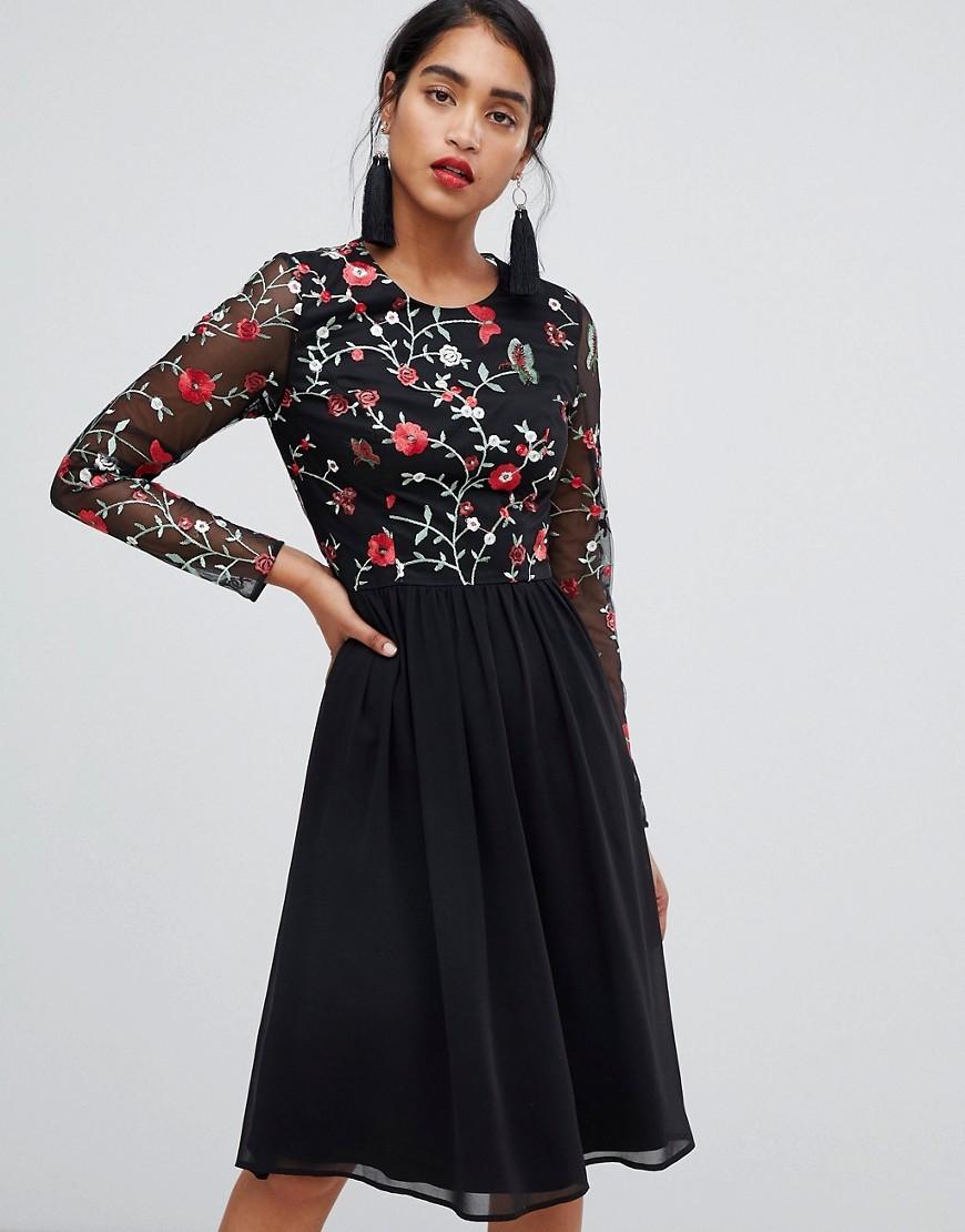 224252dbcbbdb Asos Floral Embroidered Skater Dress