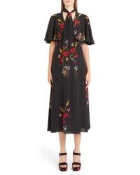 Valentino Floral Meadow Print Crepe De Chine Faux Wrap Dress