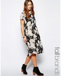 Glamorous tall oversized floral midi smock dress medium 242503