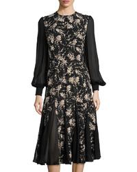 Michl kors floral print chiffon inset dress nudeblack medium 167625