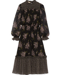 Michl kors floral print silk chiffon midi dress medium 242502