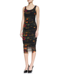 Sleeveless floral printed fitted dress blackmulticolor medium 103035