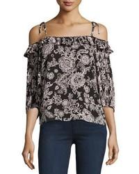 Off the shoulder floral print blouse black medium 3995340