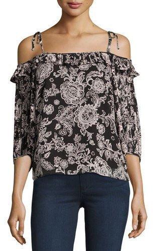 1a4dcc1903271 ... Neiman Marcus › Ella Moss › Black Floral Chiffon Off Shoulder Tops Ella  Moss Off The Shoulder Floral Print Blouse Black ...