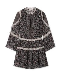 Ulla Johnson Essie Ruffled Floral Print Fil Coup Chiffon Mini Dress