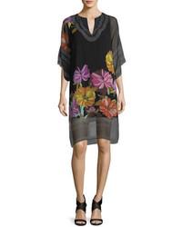 Trina Turk Floral Print Split Neck Chiffon Shift Dress