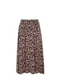 New Look Black Ditsy Floral Midi Skater Skirt