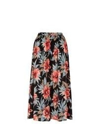 New Look Black Floral Print Crinkle Midi Skirt