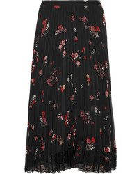 RED Valentino Redvalentino Pleated Floral Print Chiffon Skirt Black