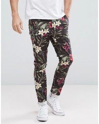 ASOS DESIGN Asos Super Skinny Trousers In Bright Floral Leaf Print