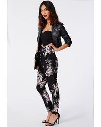 Missguided haman floral print high waisted trousers black medium 102222