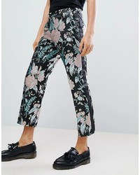 ASOS Edition Straight Crop Smart Trousers In Floral Jacquard