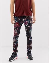 ASOS DESIGN Super Skinny Trousers In Floral Print