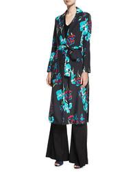 Diane von Furstenberg Collared Floral Printed Silk Coat