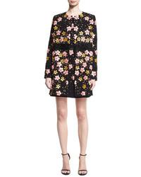 Floral embroidered car coat black medium 3698161