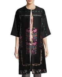 Floral embroidered kimono topper coat black medium 6698518