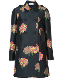 RED Valentino Floral Print Double Breasted Coat