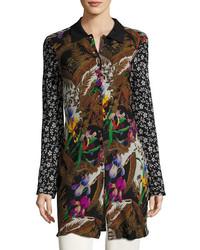 Etro Floral Silk Shirt Coat Blackmulti