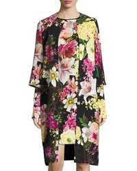Nem khan floral print 34 sleeve coat black medium 6698519