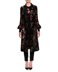 Dolce & Gabbana Rose Jacquard Button Front Top Coat
