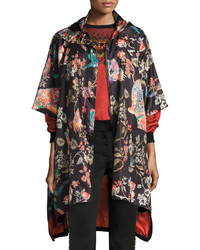 Etro Tiger Floral Print Raincoat Black