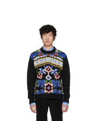 Prada Black Floral Crewneck Sweater