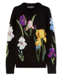 Dolce & Gabbana Embroidered Floral Intarsia Wool Sweater
